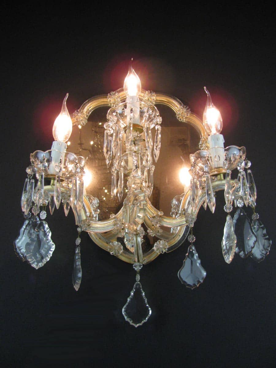 Applique antiche cristallo bohemia a tre luci con specchio - Applique specchio ...