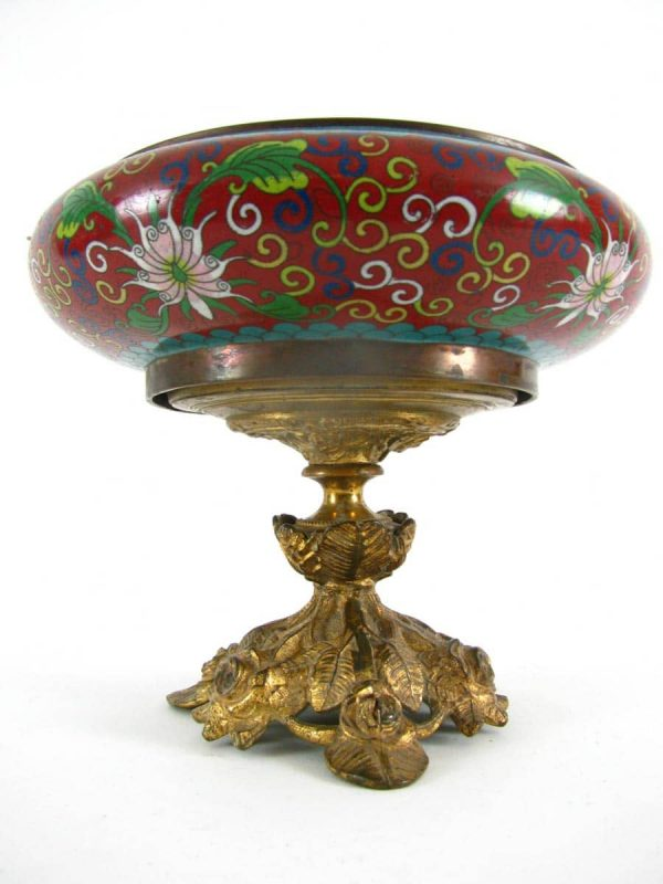 Cloisonn Enamel Bowl with gilt bronze base