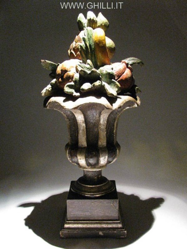 Italian Centerpiece Tuscan Painted fruit carved and silvered wooden vase