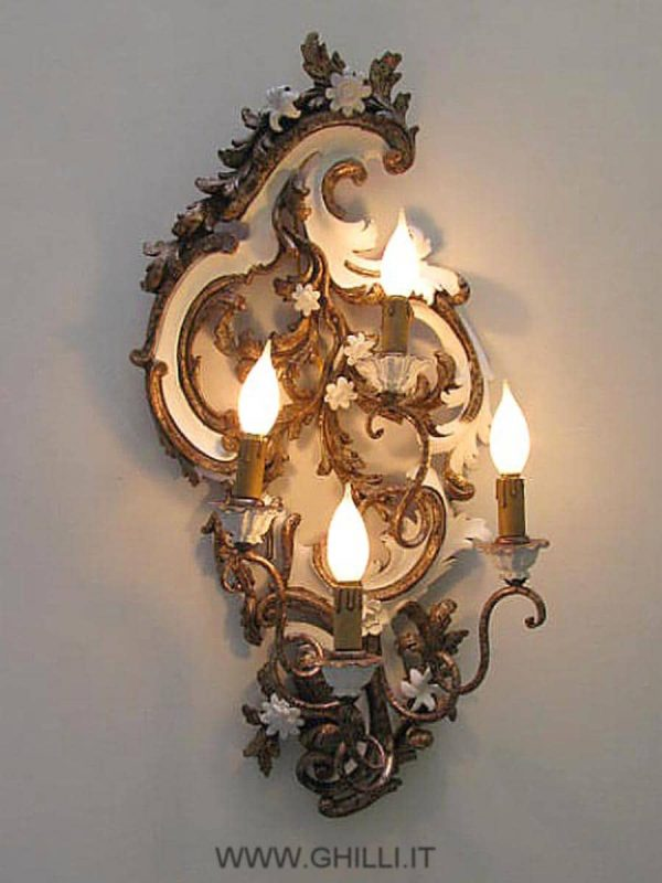 Pair of Italian carved wooden 4 arm sconces