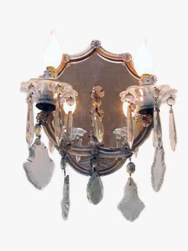 Pair of 1950s 2 light Crystal Sconces with mirror