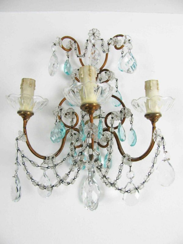 A Pair of Antique Crystal Sconces