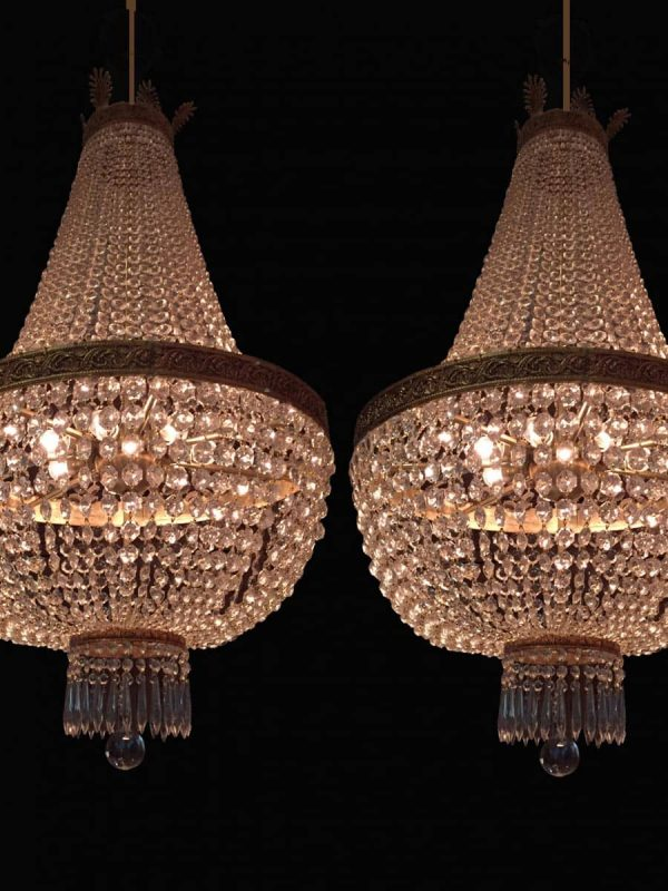 Pair of 20th century Empire Style Crystal 7 light Chandeliers