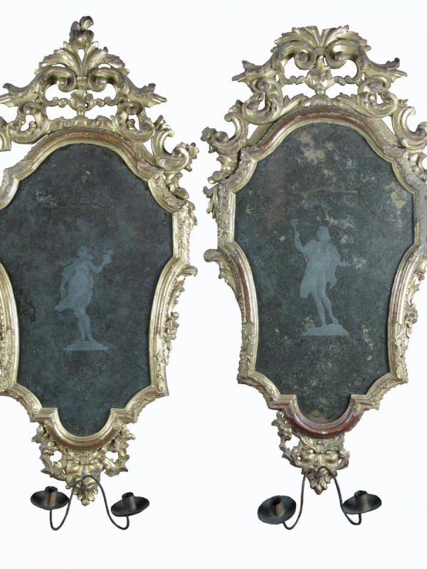 A pair of Italian Giltwood Etched Mirrors with Sconce Arms