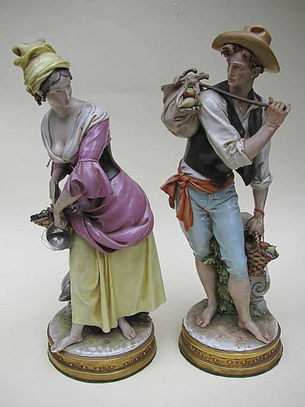 Coppia figure porcellana policroma Giuseppe Cappè Contadina e Contadino anni 60