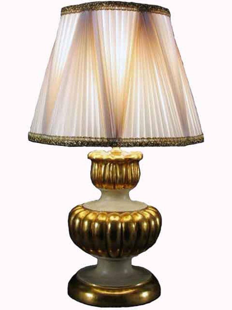 Coppia lampade dorate da tavolo con paralumi plissettati for Lampade tonde da tavolo