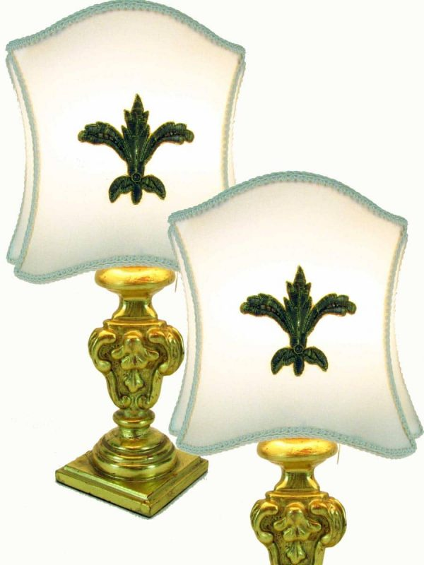 Pair of Italian 1950s Small Bedside Table Giltwood Lamps