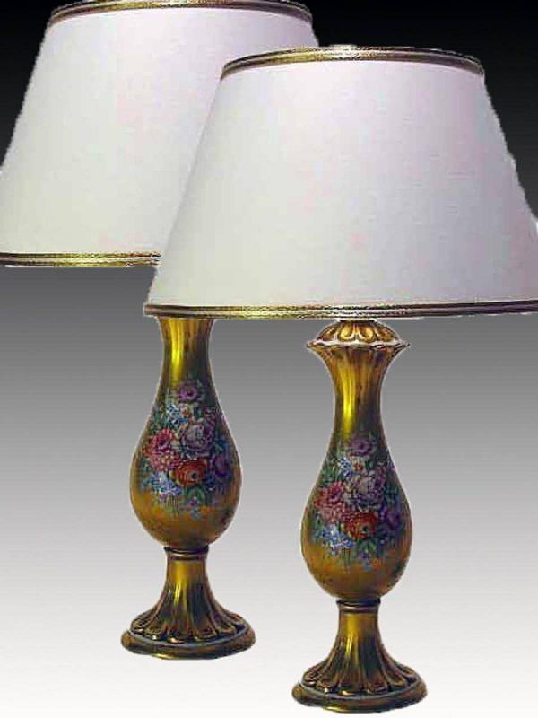 Coppia Lampade porcellana dorata decoro floreale metà Novecento