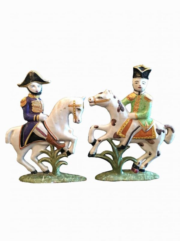 Pair of  Pottery Knights Figures Early 19th century