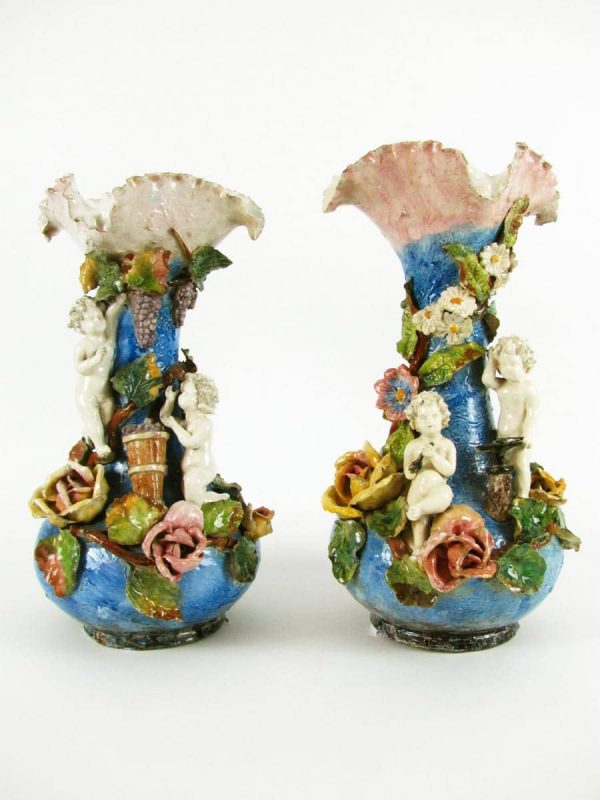 Pair of Italian Liberty Maiolica Floral  Vases with Cherubs
