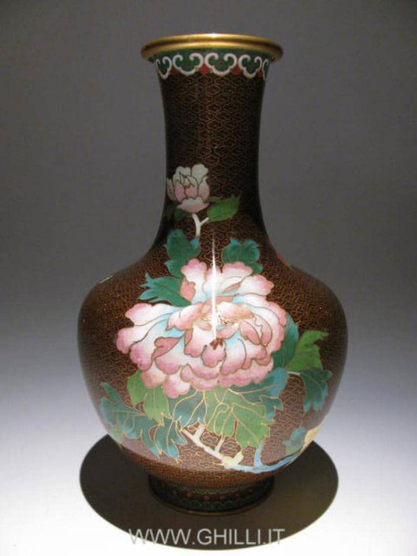 Pair of Chinese Cloisonne enamel Vases decorated with peony first half 20th cent