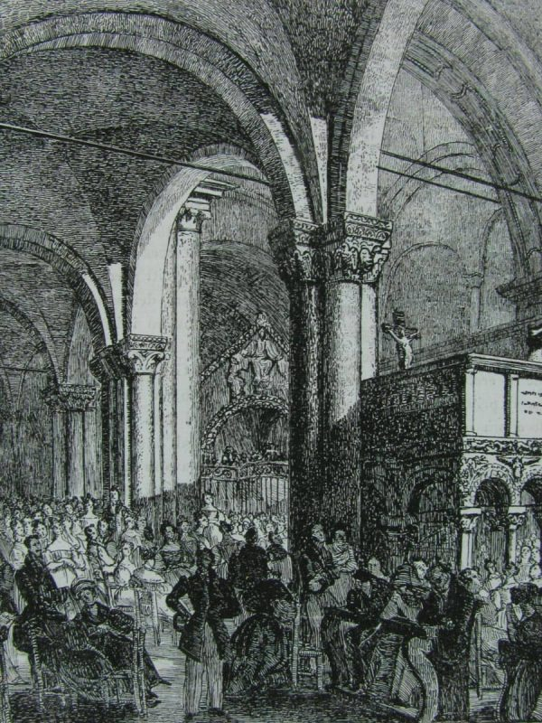Milan, S. Ambrogio, antique print 1835-1840