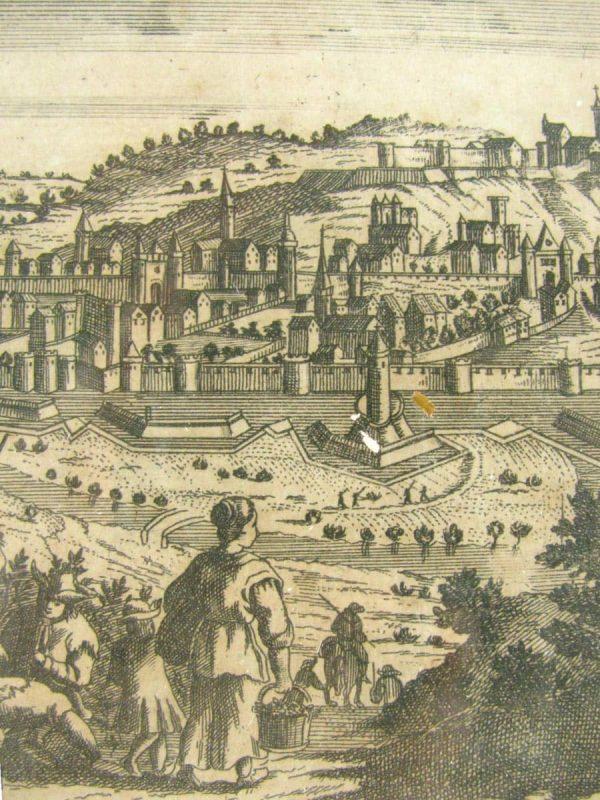 View of Namur, antique print, arond 1740