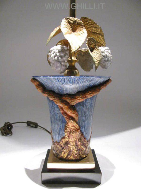 Lampada Porcellana  policroma Mangani anni 70