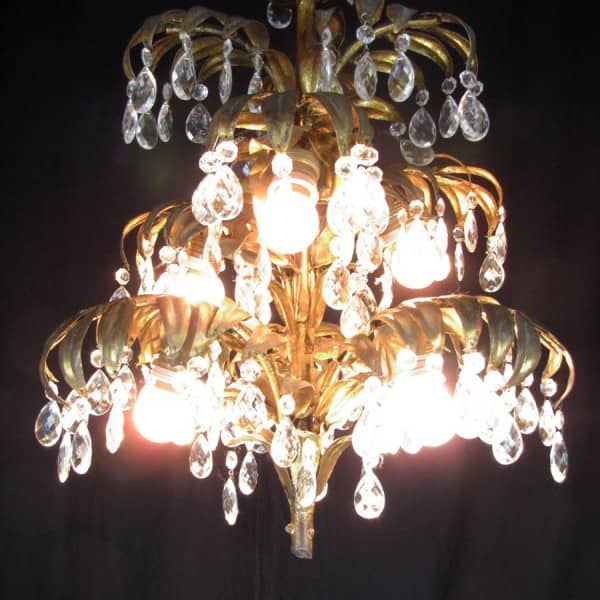 Italian Palm tree Shaped Gilt Iron and Crystal Chandelier