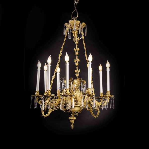 19th Century Fire Gilt Cast Bronze and Crystal 9 Light Chandelier