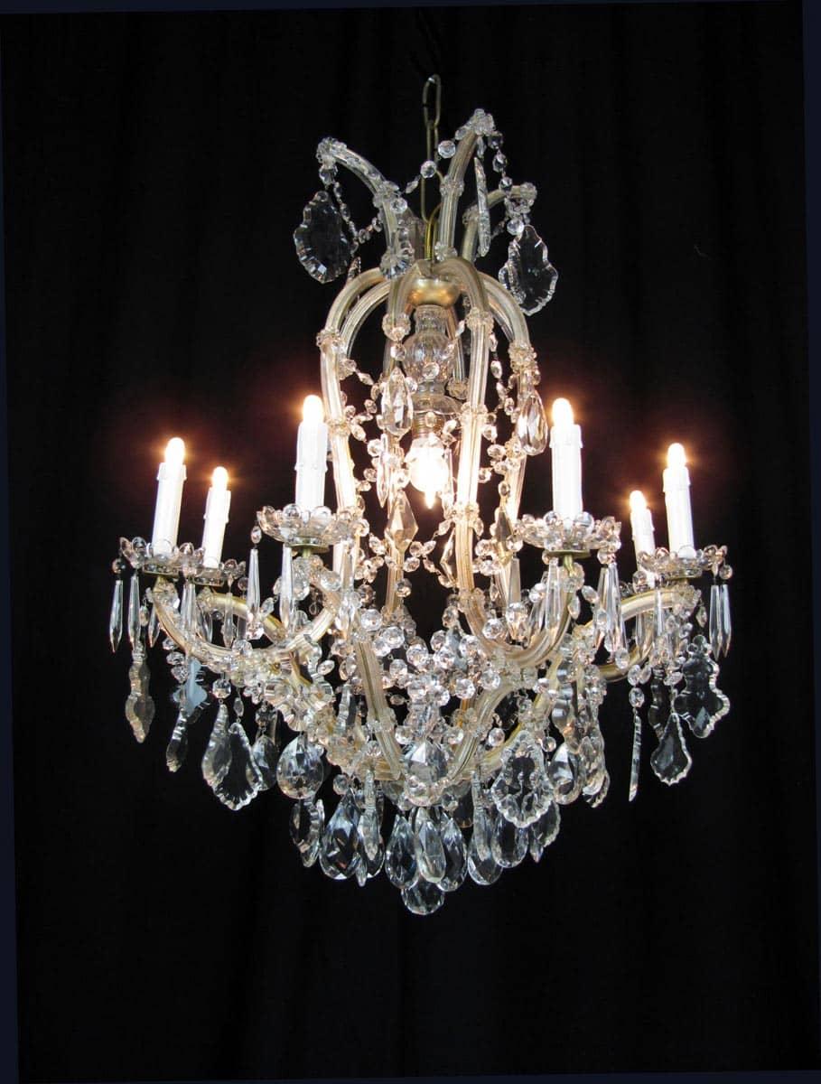 Lampadario antico in cristallo Maria Teresa 9 luci -> Lampadario Antico Verniciato