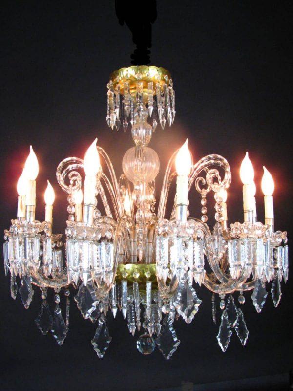 Lampadario Antico Cristallo Bohemia 12 bracci