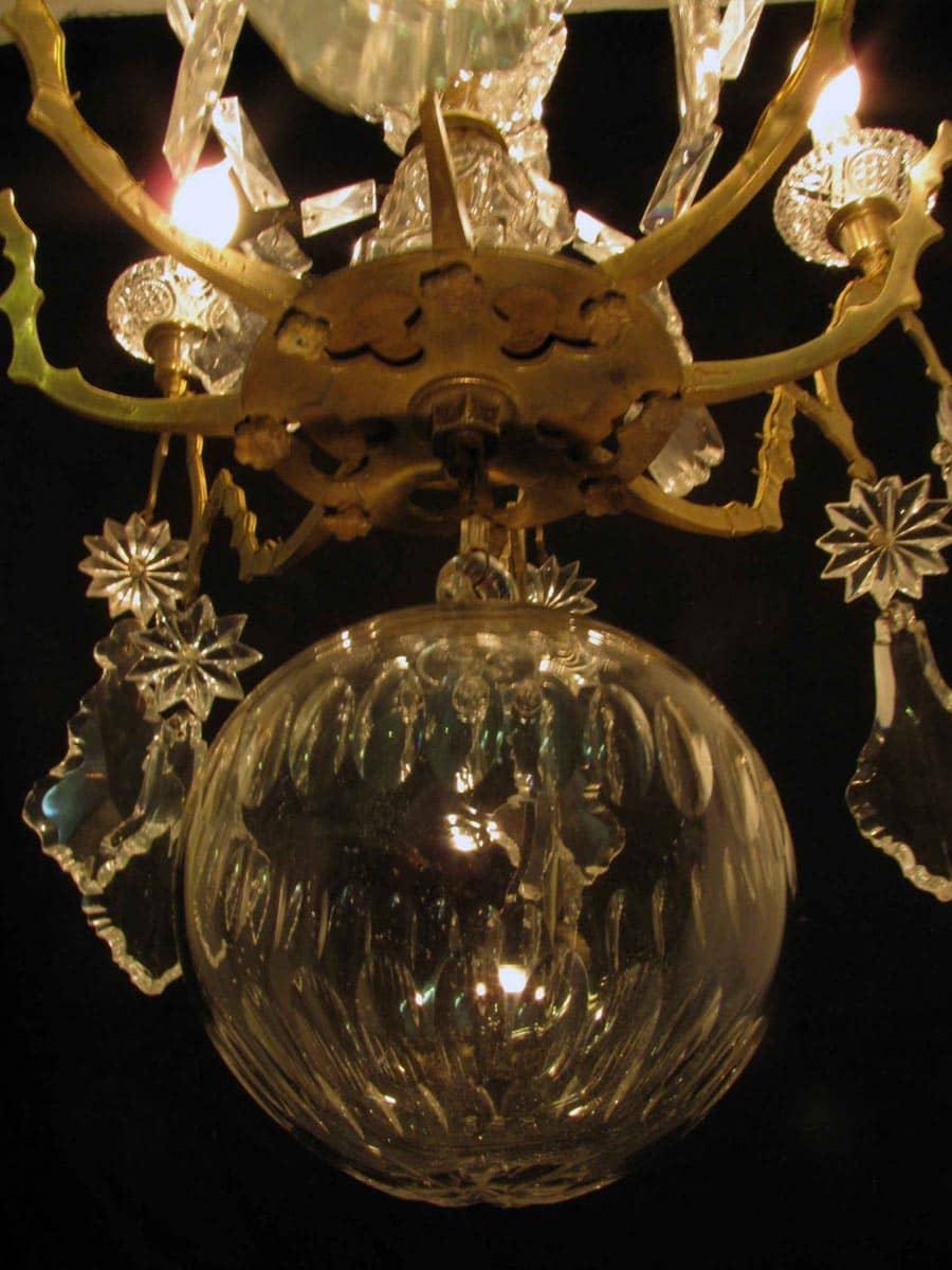 Lampadario antico in cristallo del 1800 -> Lampadario Antico Verniciato