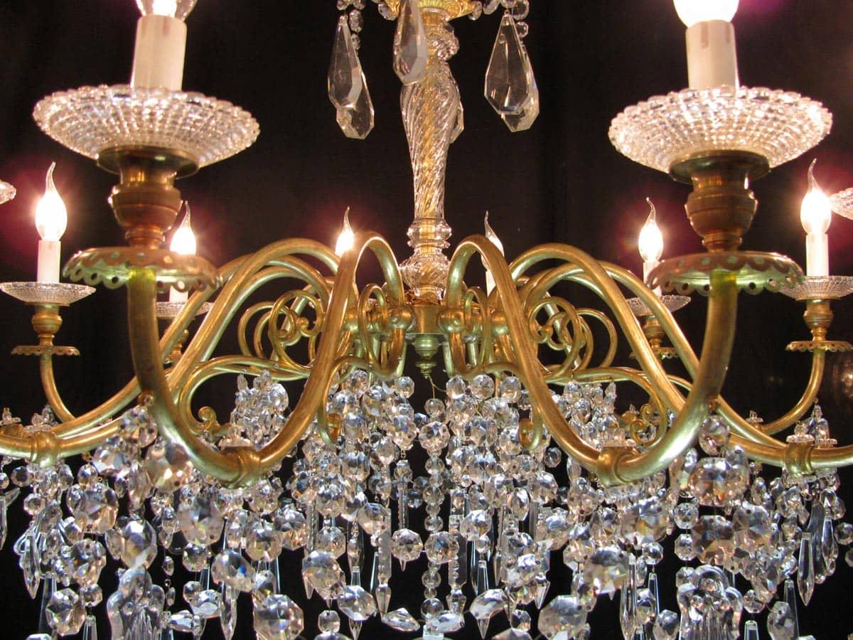 Lampadario Antico Ottone : Lampadario antico ottone e cristallo lampadario antico in ottone