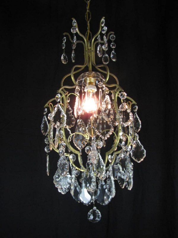 1950's Italian Cage 1 light Chandelier
