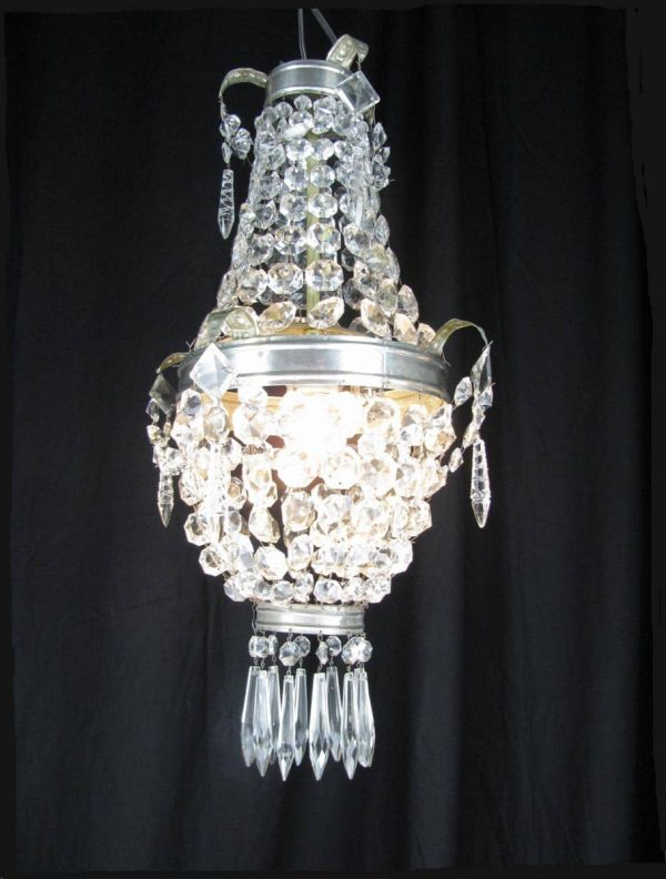 Early 20th Century Iron and Crystal One light Chandelier