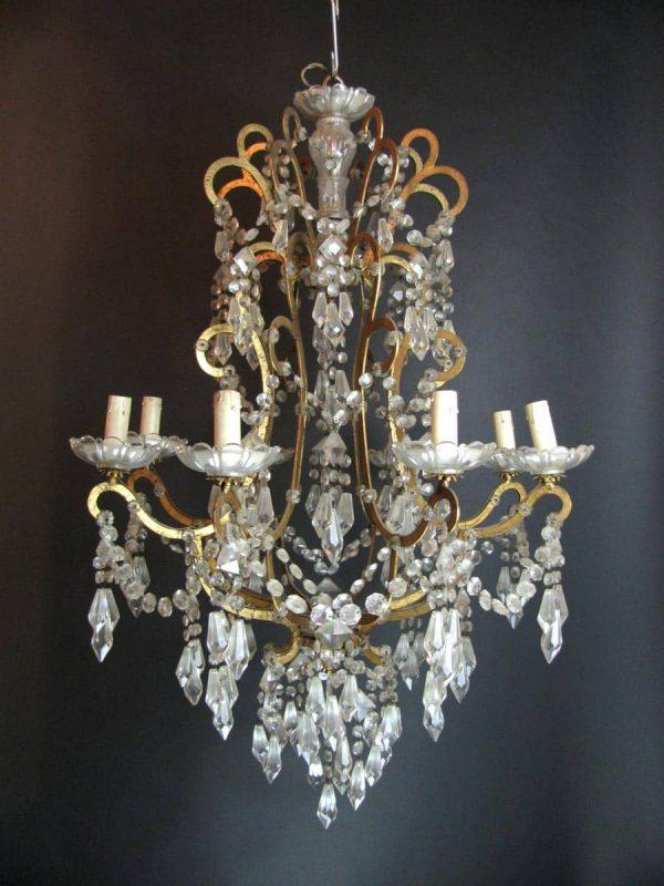 20th century Italian Crystal 8 light Chandelier