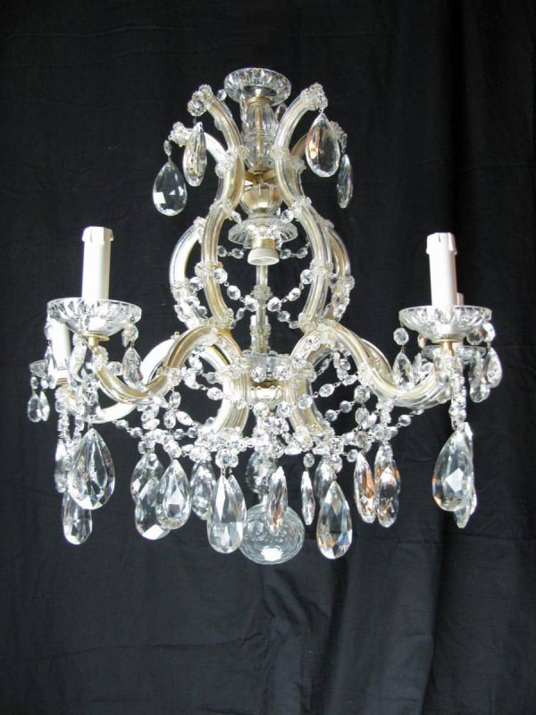 1950's Italian Marie Therese style Bohemian Crystal 6 light Chandelier