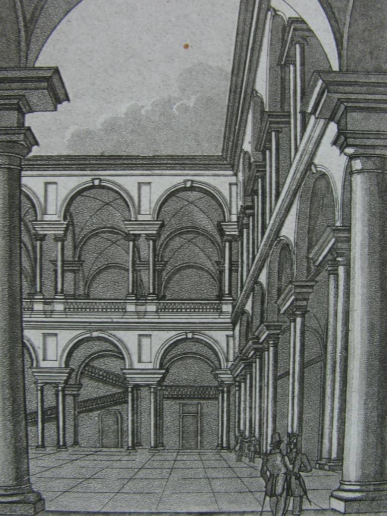 View of Brera in Milan, antique print