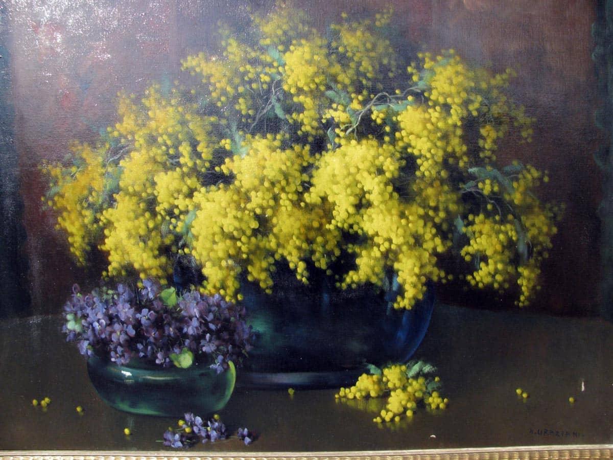 natura morta con mimose e viole