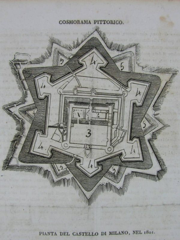 Castle of Milan- Antique print