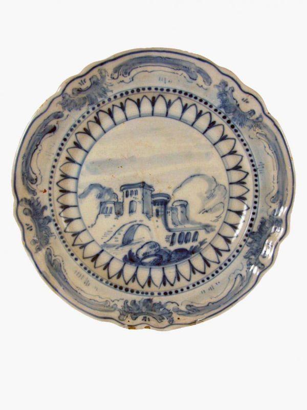 Antique Italian Maiolica A Savona Blue and White Plate