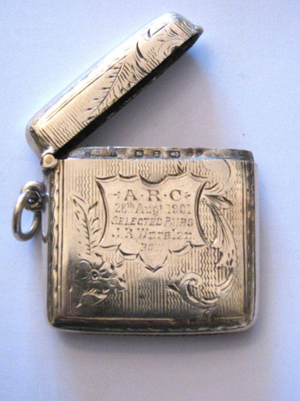 Portafiammiferi in argento Birmingham 1899/900