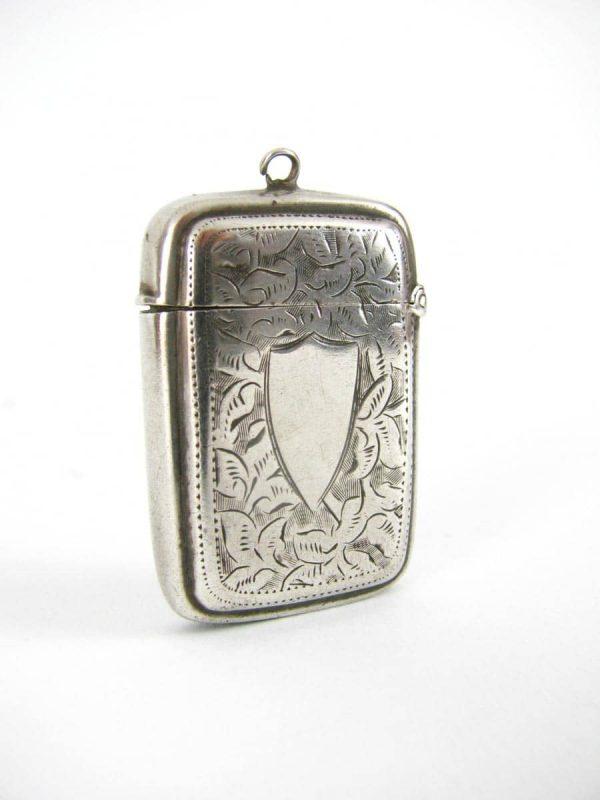 Victorian silver Vesta case hallmarked Birmingham 1888 Hilliard & Thomason Maker