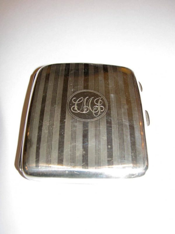Solid silver cigarette case Birmingham 1918