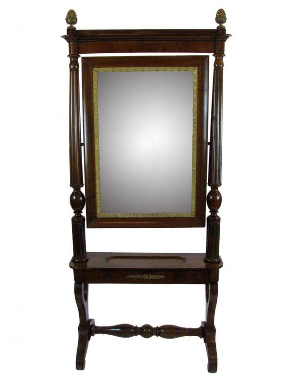 Walnut Empire Standing Mirror Psyche around 1830