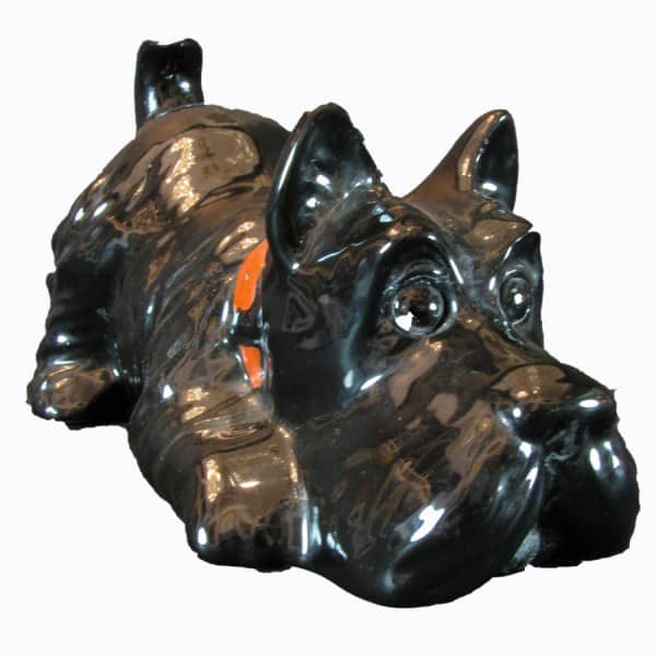 Black Portuguese Ceramic Scottish Terrier Dog Figurine