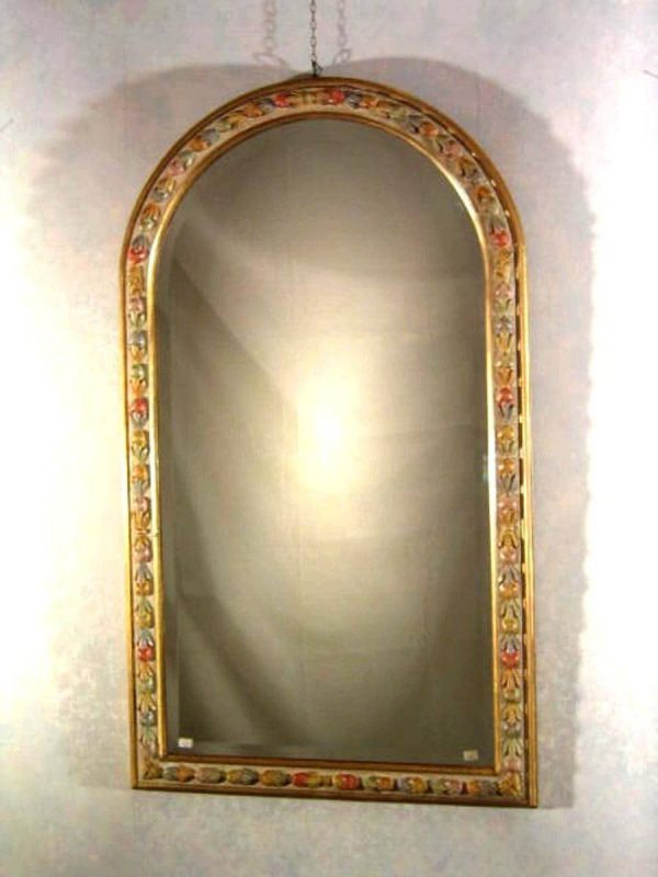 Painted carved wooden mirror around 1990s
