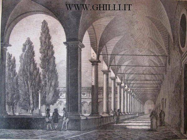 Stampa antica di Roma Chiostro della Certosa alle Terme Diocleziane 1840