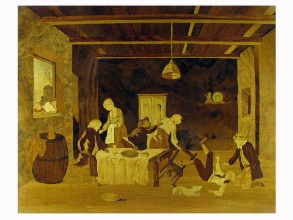 Tarsia pittorica con scena di interno