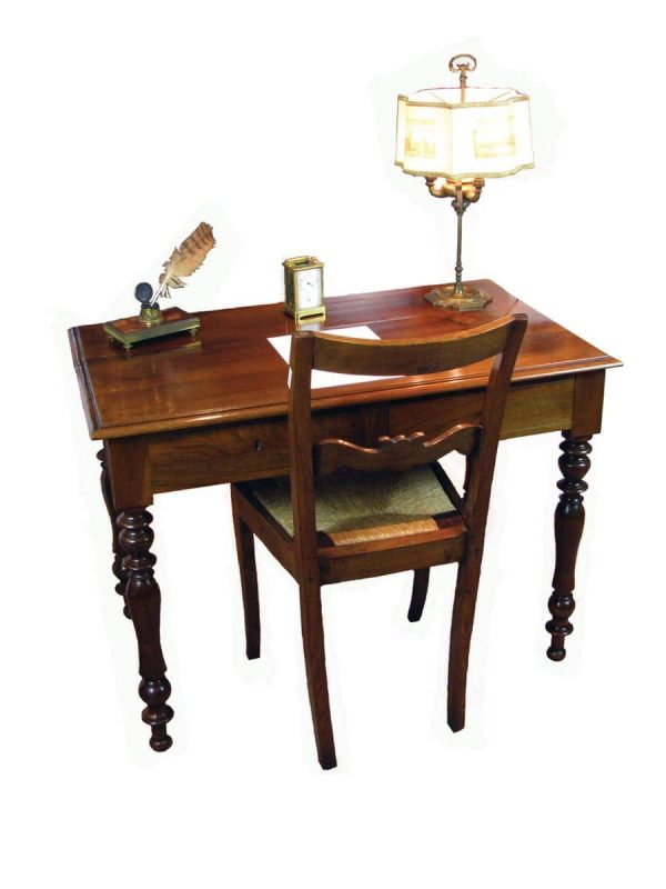 19th century French Walnut Writing Desk with Drawers