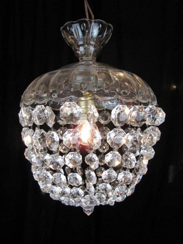 1950s Italian cut glass 1 light Chandelier