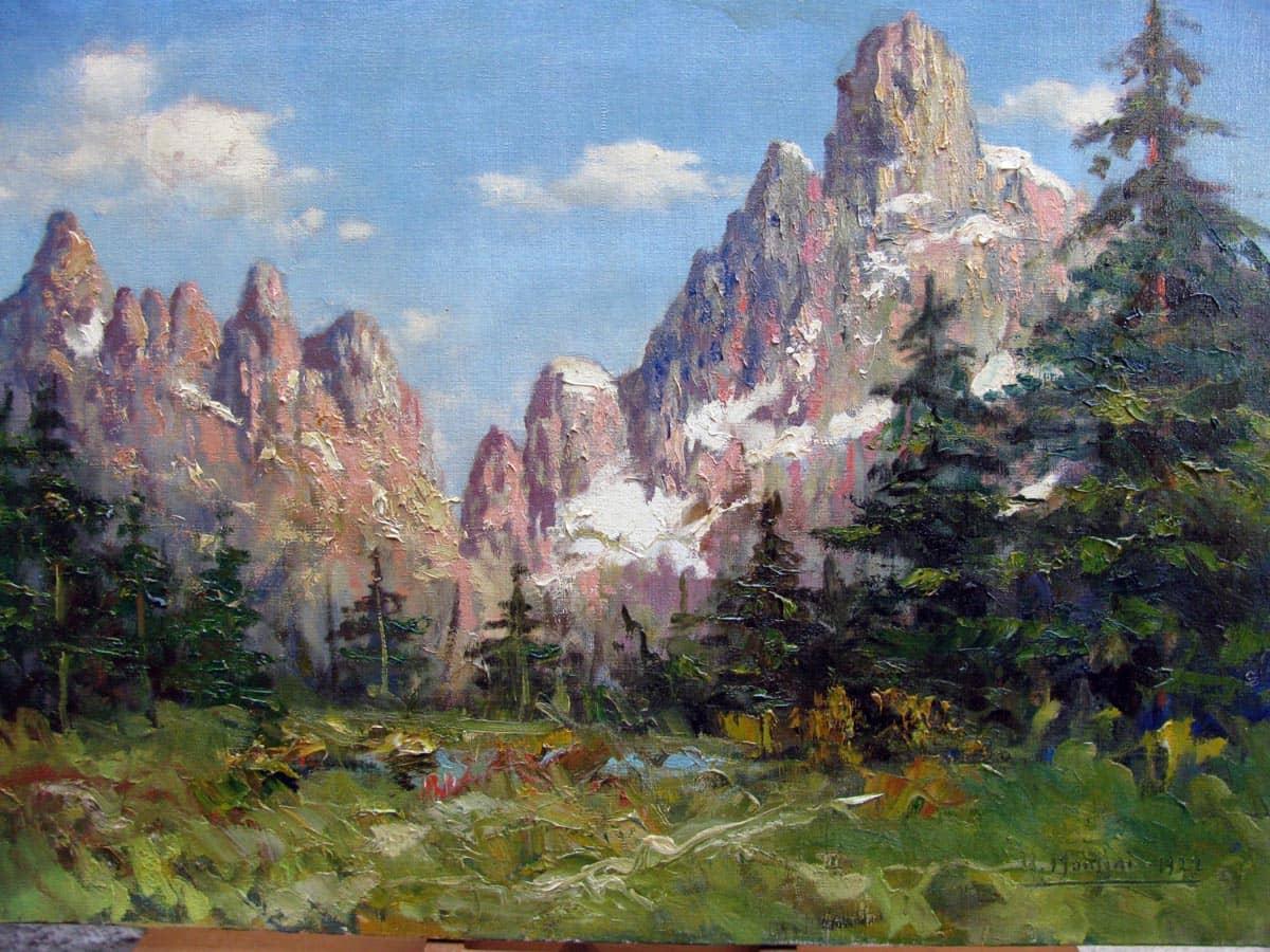 Dipinto antico paesaggio di montagna umberto montini 1927 for Quadri dipinti a mano paesaggi