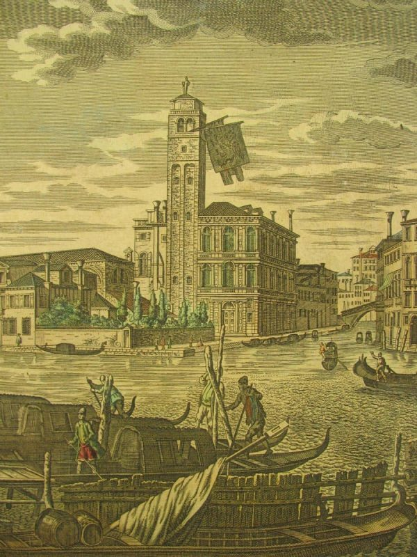 Georg Balthasar Probst hand coloured engraving Venice View around 1770