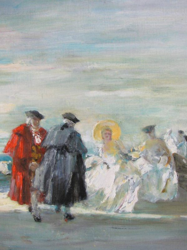 Italian Seaside Landscape with Figures signed Zambeletti around 1950