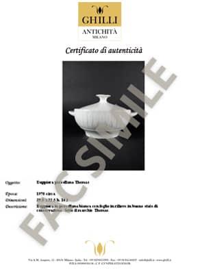 certificato autenticita antiquariato