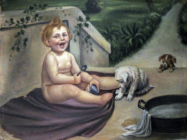 Ritratto di bimba con cagnolini primi 1900