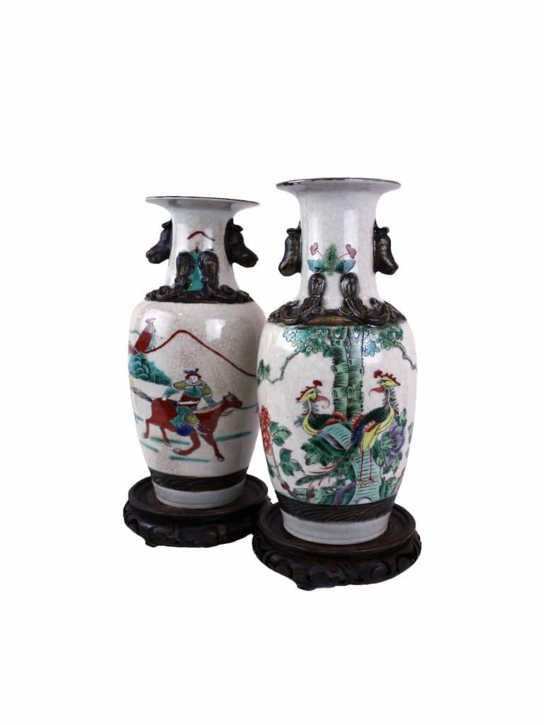 Coppia di Vasi in Porcellana Cinese