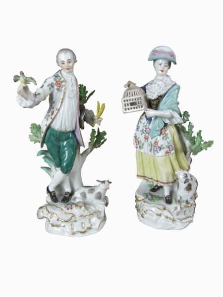 Coppia di Statuine in Porcellana Meissen