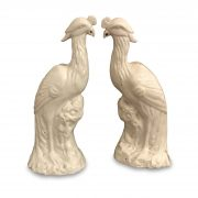 coppia pappagalli ceramica bianca 1950